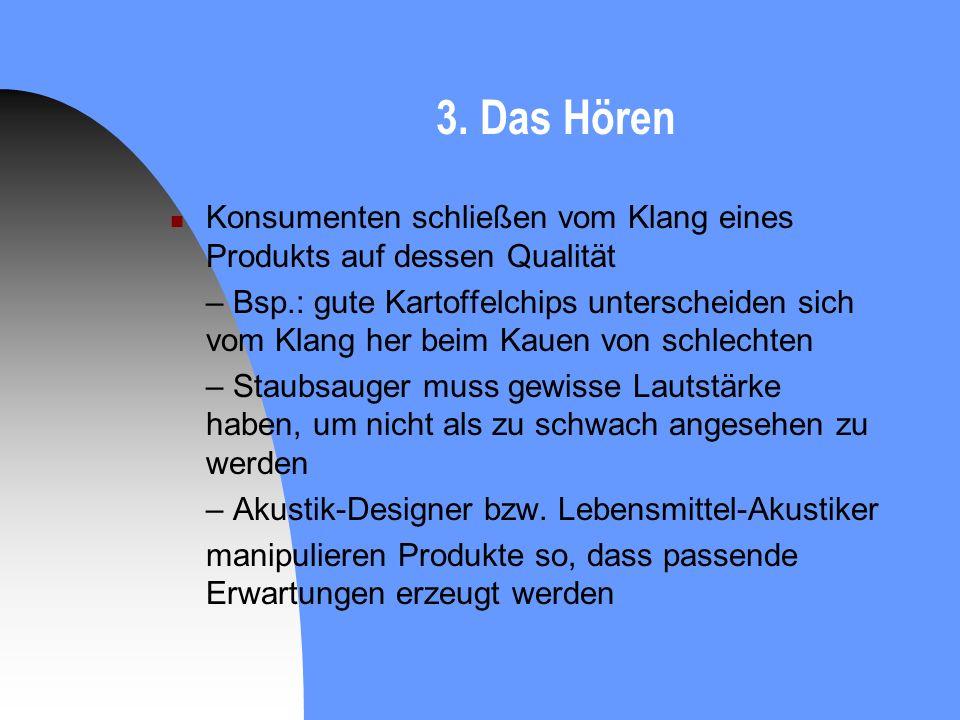 3. Das Hören Konsumenten schließen vom Klang eines Produkts auf dessen Qualität.