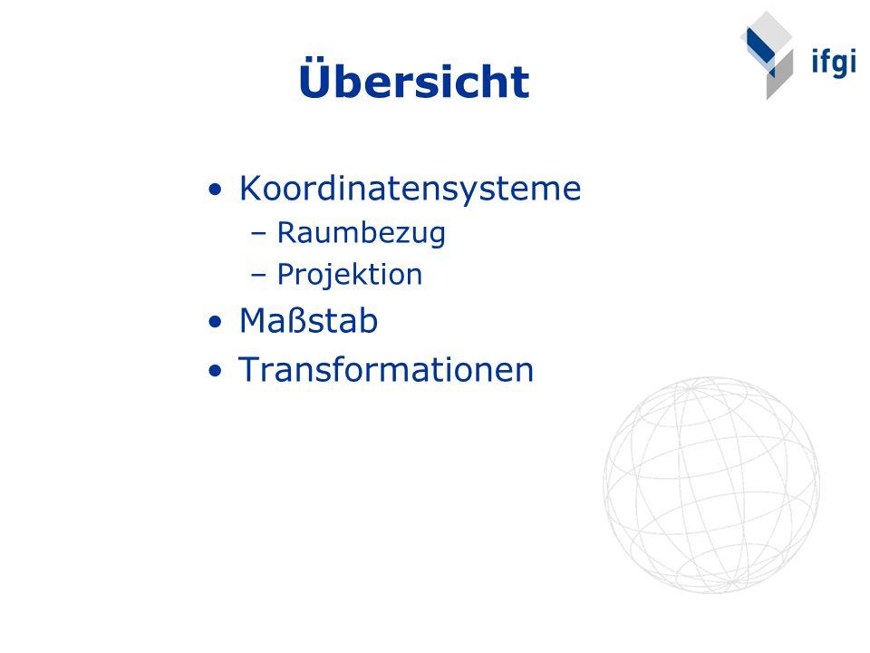 Übersicht Koordinatensysteme Maßstab Transformationen Raumbezug