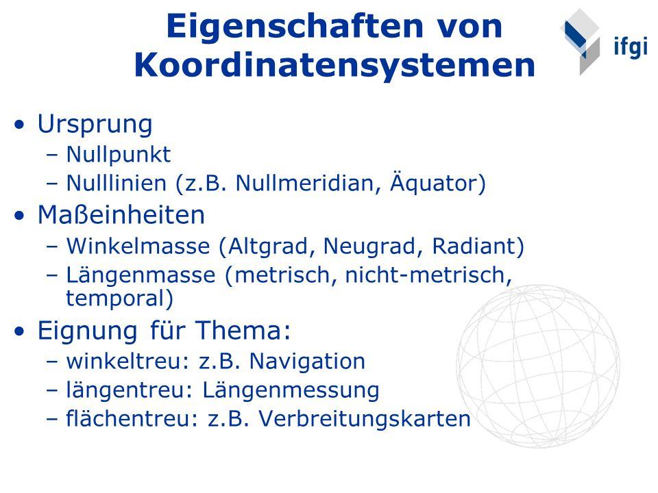 Eigenschaften von Koordinatensystemen
