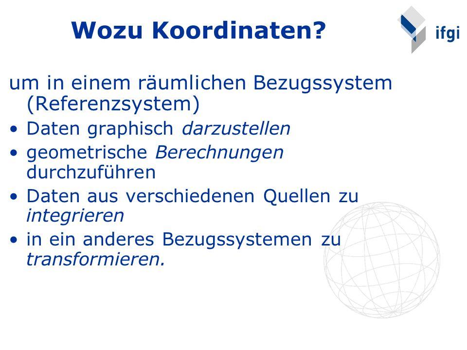 Wozu Koordinaten um in einem räumlichen Bezugssystem (Referenzsystem)