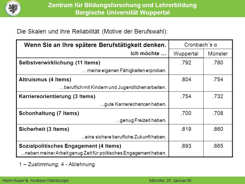 Die Skalen und ihre Reliabilität (Motive der Berufswahl):