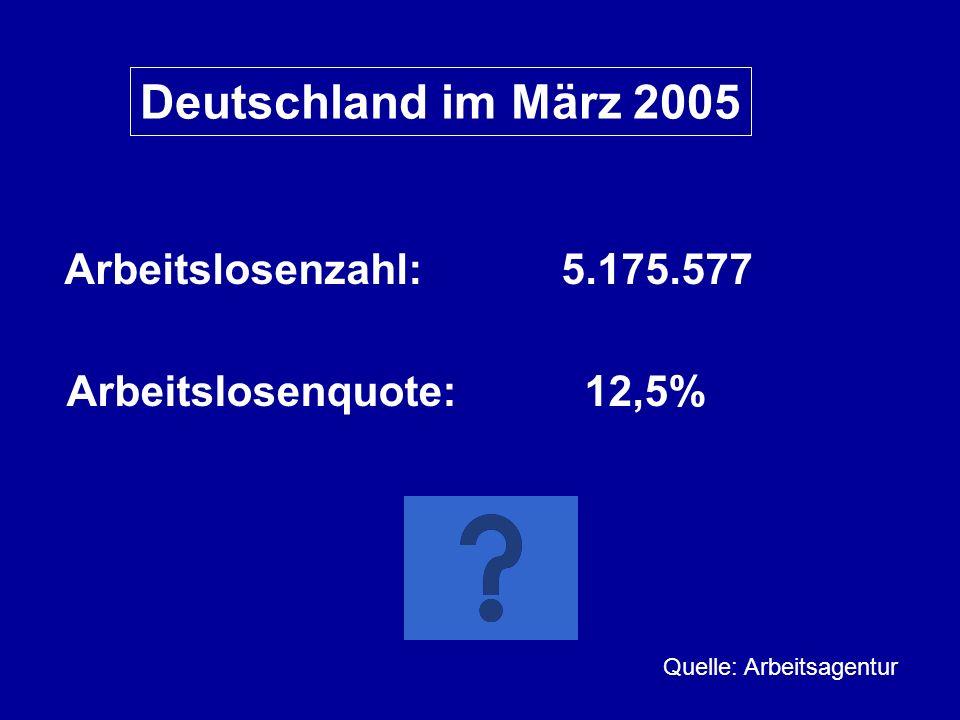 Deutschland im März 2005 Arbeitslosenzahl: 5.175.577