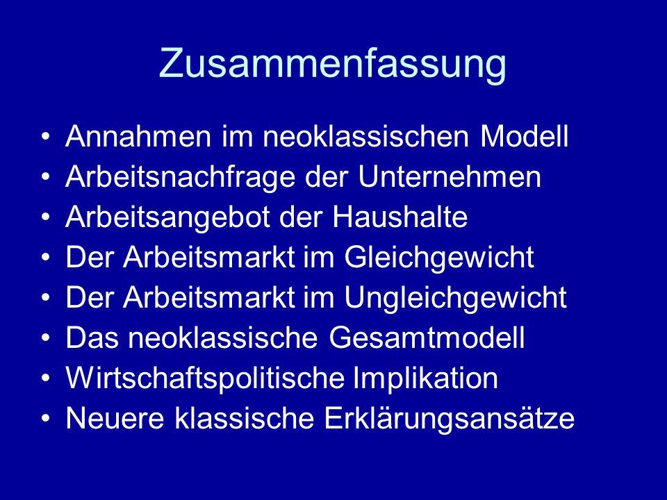 Zusammenfassung Annahmen im neoklassischen Modell