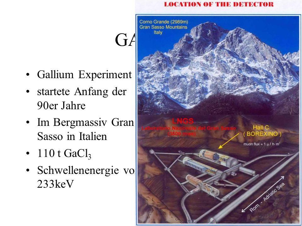 GALLEX Gallium Experiment startete Anfang der 90er Jahre