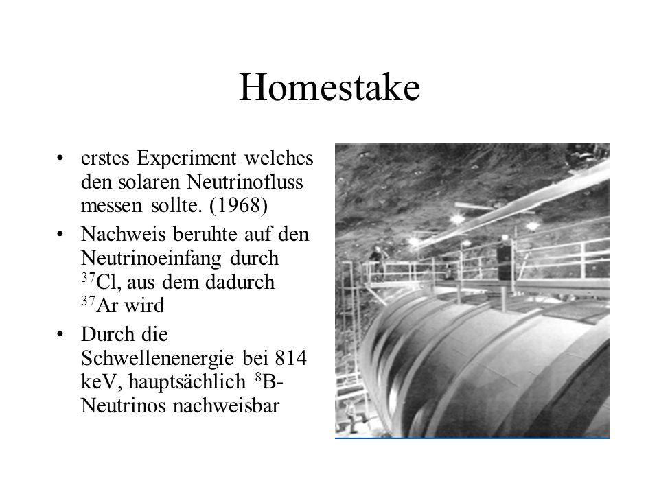 Homestake erstes Experiment welches den solaren Neutrinofluss messen sollte. (1968)