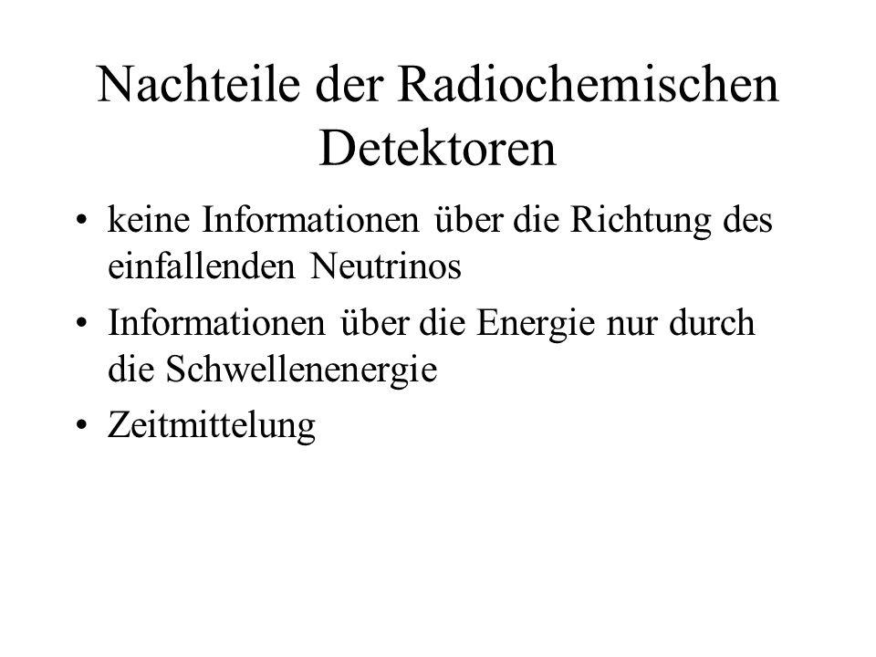 Nachteile der Radiochemischen Detektoren