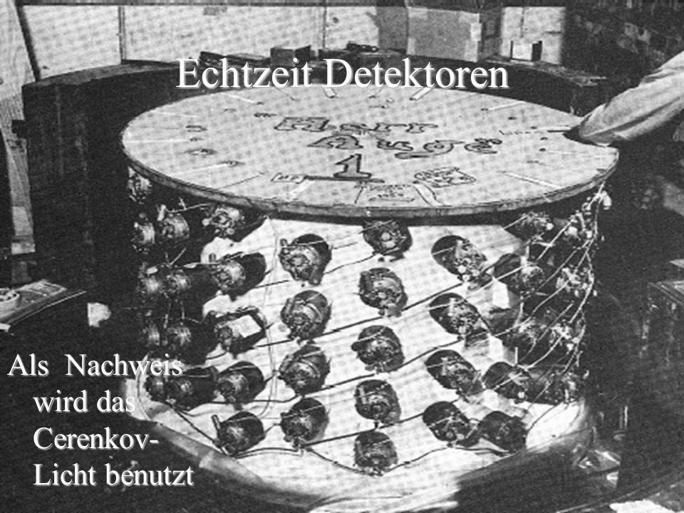 Echtzeit Detektoren Als Nachweis wird das Cerenkov-Licht benutzt