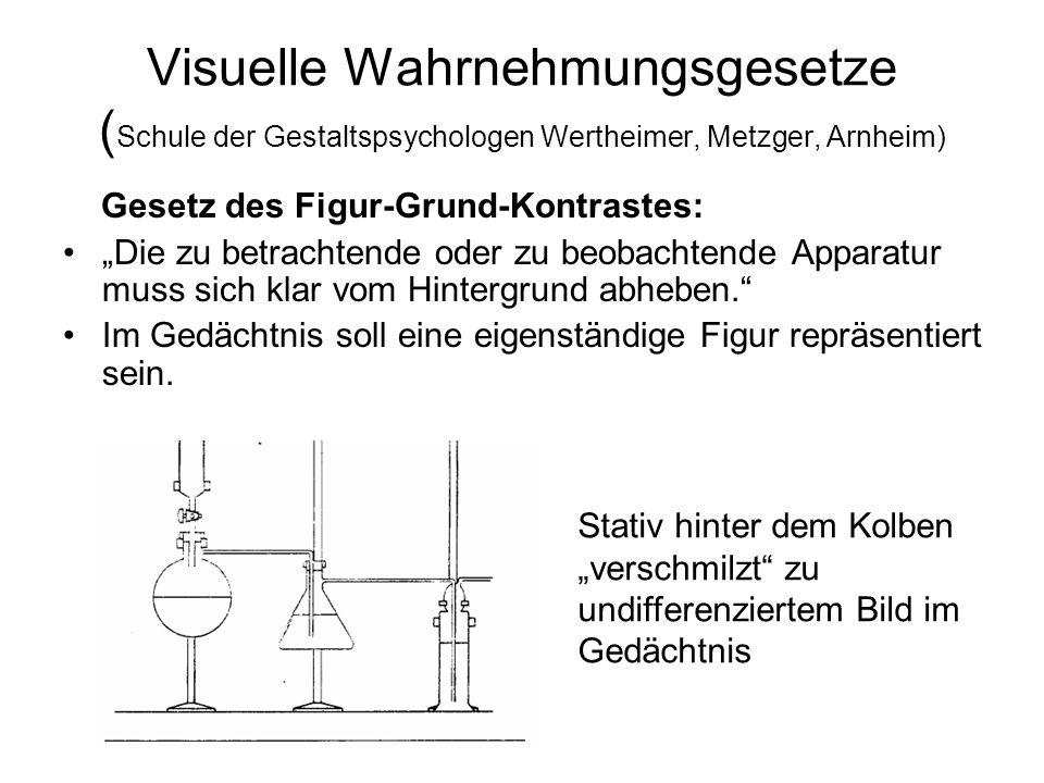 Visuelle Wahrnehmungsgesetze (Schule der Gestaltspsychologen Wertheimer, Metzger, Arnheim)