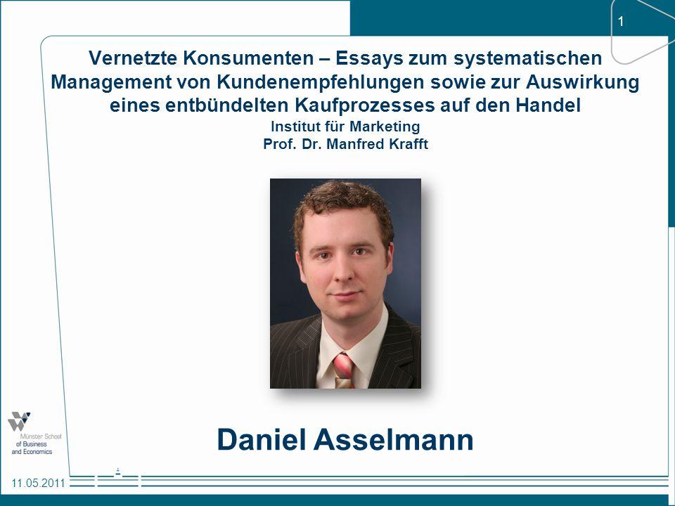 Vernetzte Konsumenten – Essays zum systematischen Management von Kundenempfehlungen sowie zur Auswirkung eines entbündelten Kaufprozesses auf den Handel Institut für Marketing Prof. Dr. Manfred Krafft