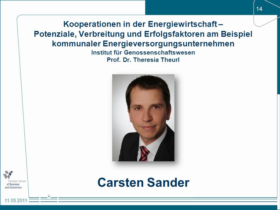 Kooperationen in der Energiewirtschaft – Potenziale, Verbreitung und Erfolgsfaktoren am Beispiel kommunaler Energieversorgungsunternehmen Institut für Genossenschaftswesen Prof. Dr. Theresia Theurl