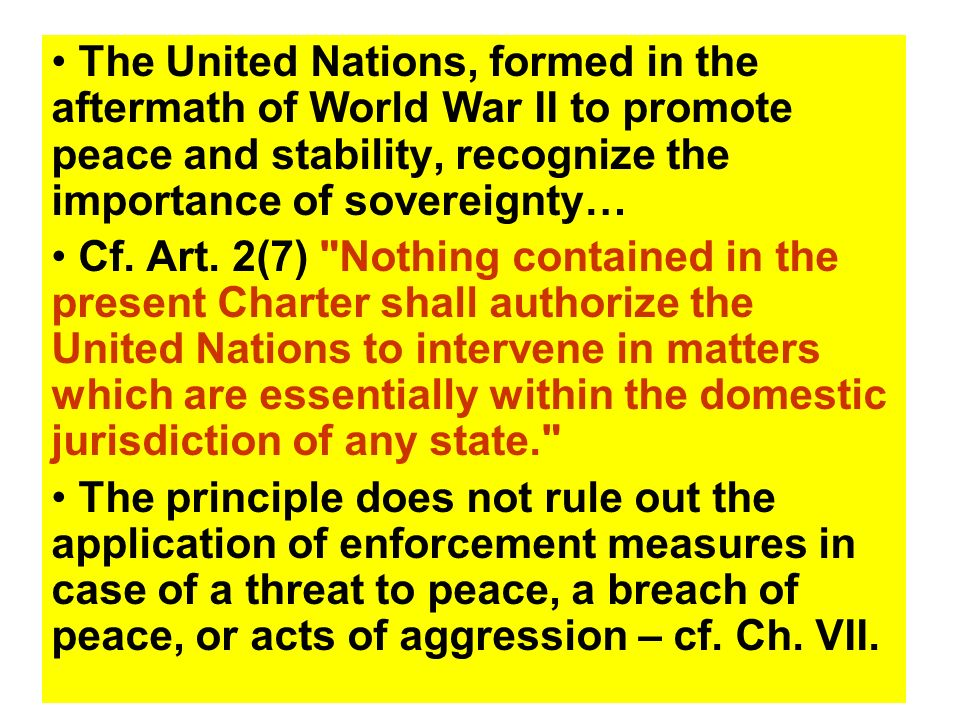 The United Nations, formed in the aftermath of World War II to promote peace and stability, recognize the importance of sovereignty…