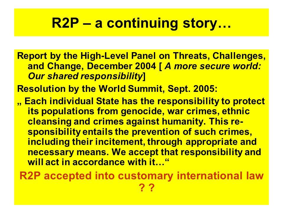 R2P – a continuing story…