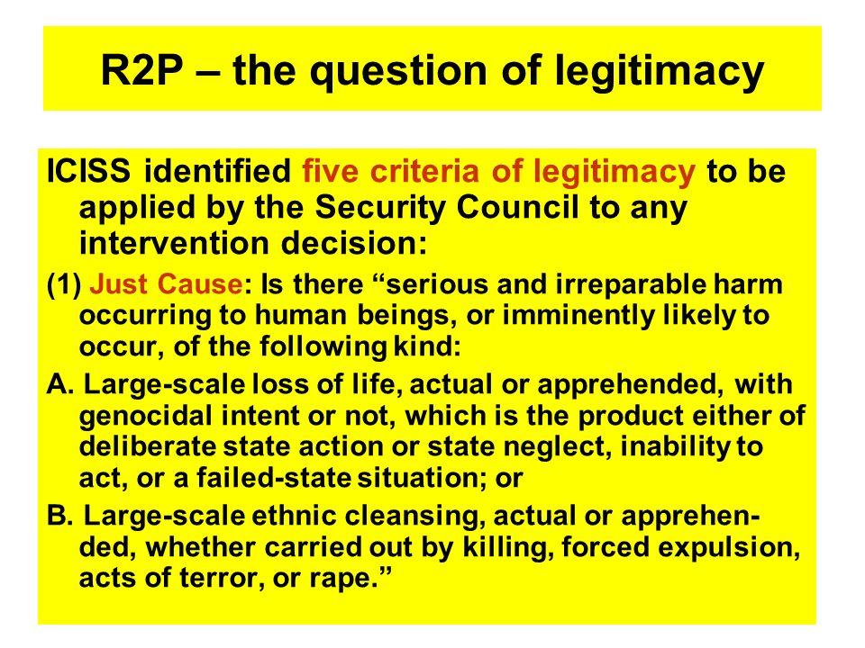 R2P – the question of legitimacy