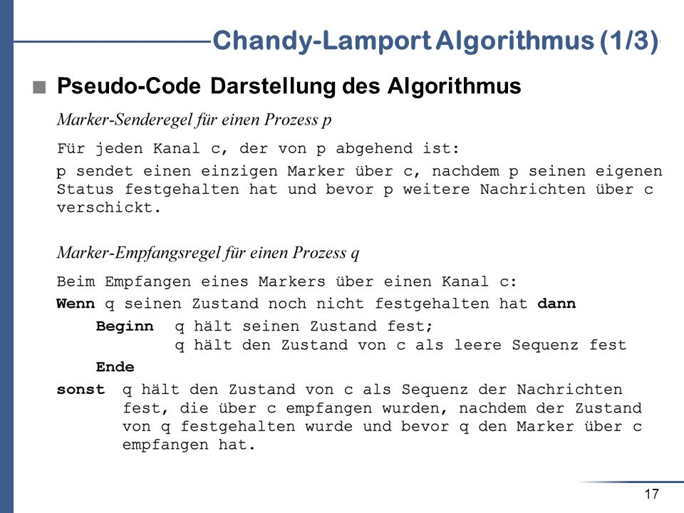Chandy-Lamport Algorithmus (1/3)