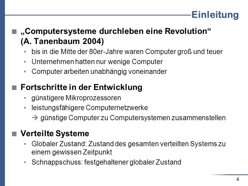 """Einleitung """"Computersysteme durchleben eine Revolution (A. Tanenbaum 2004) bis in die Mitte der 80er-Jahre waren Computer groß und teuer."""