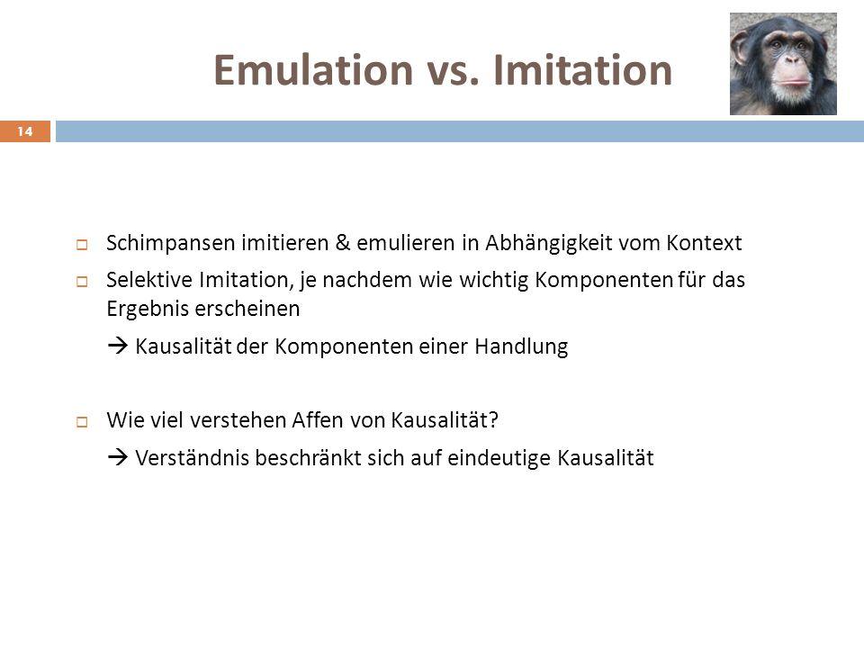 Emulation vs. Imitation