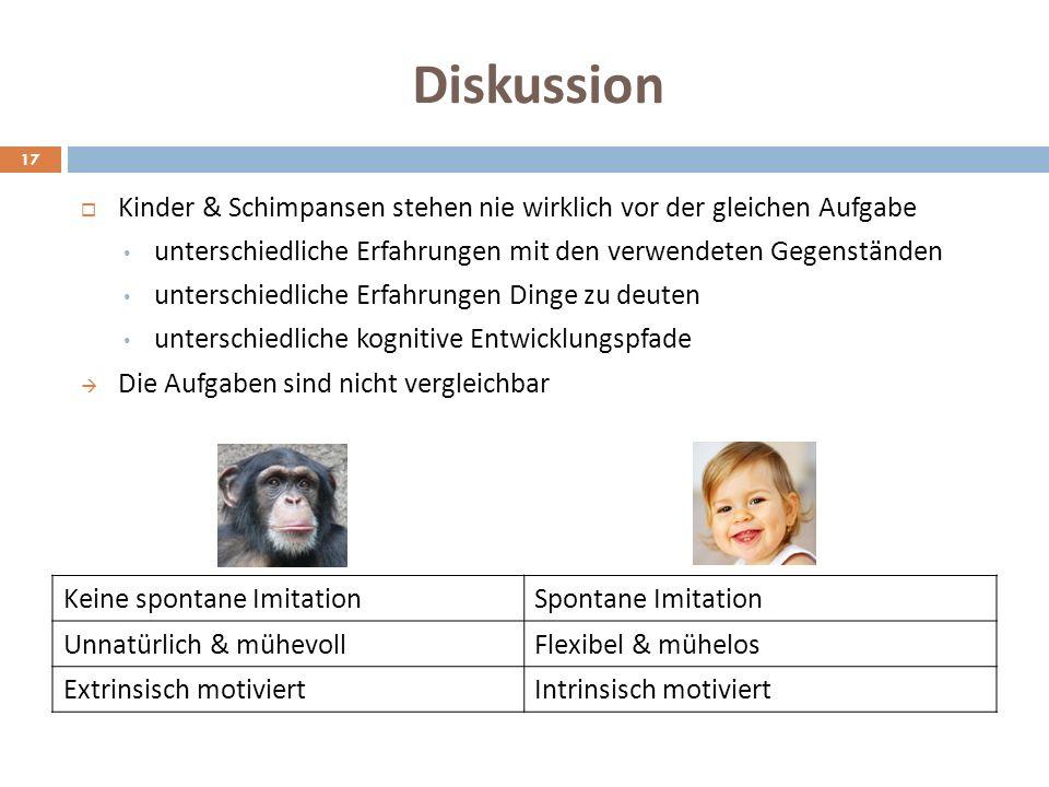 Diskussion Kinder & Schimpansen stehen nie wirklich vor der gleichen Aufgabe. unterschiedliche Erfahrungen mit den verwendeten Gegenständen.