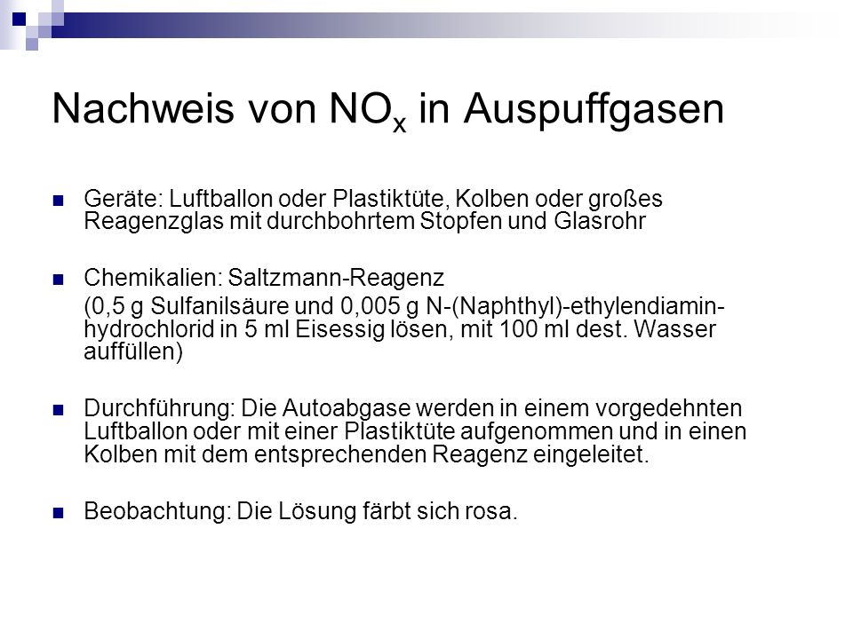Nachweis von NOx in Auspuffgasen