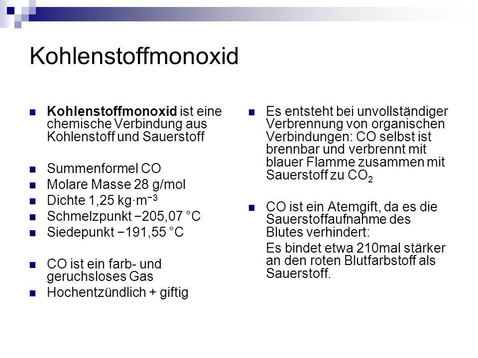Kohlenstoffmonoxid Kohlenstoffmonoxid (CO) ist eine chemische Verbindung aus Kohlenstoff und Sauerstoff.