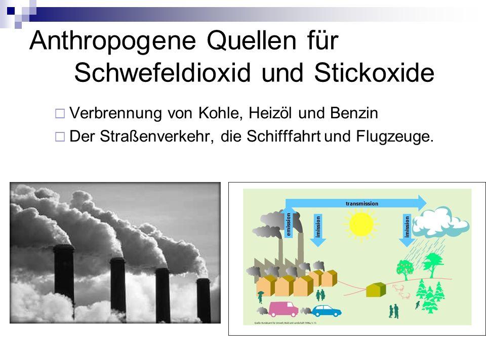 Anthropogene Quellen für Schwefeldioxid und Stickoxide