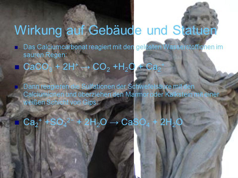 Wirkung auf Gebäude und Statuen