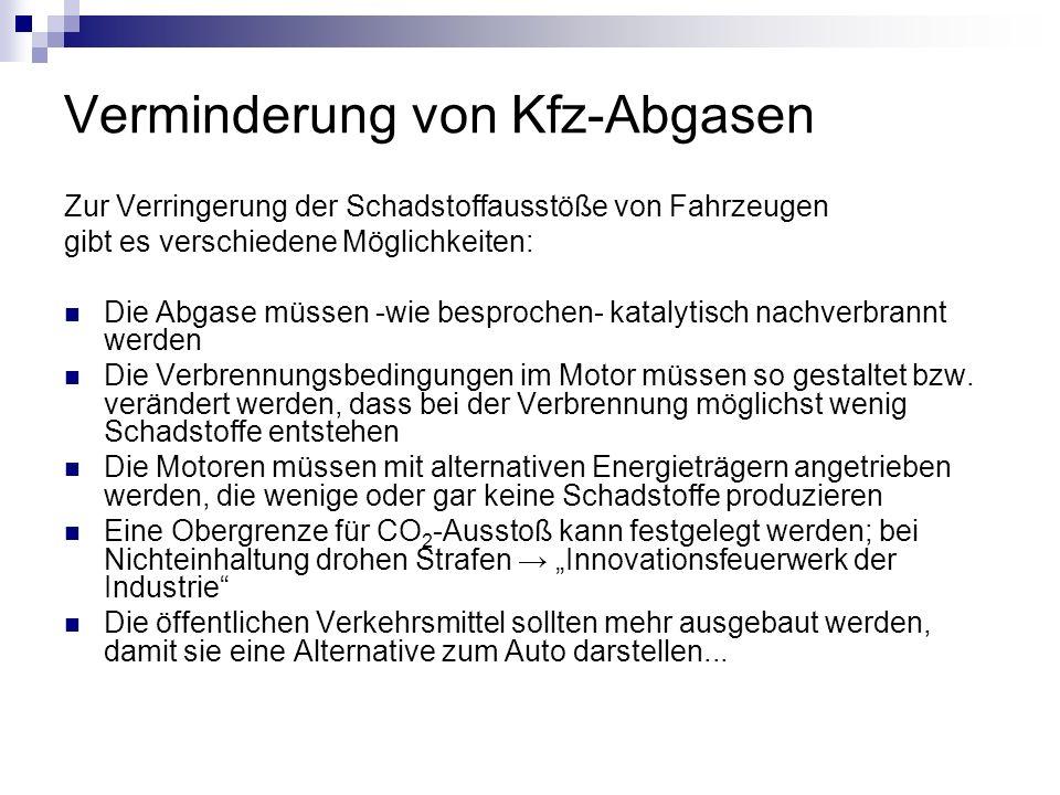 Verminderung von Kfz-Abgasen