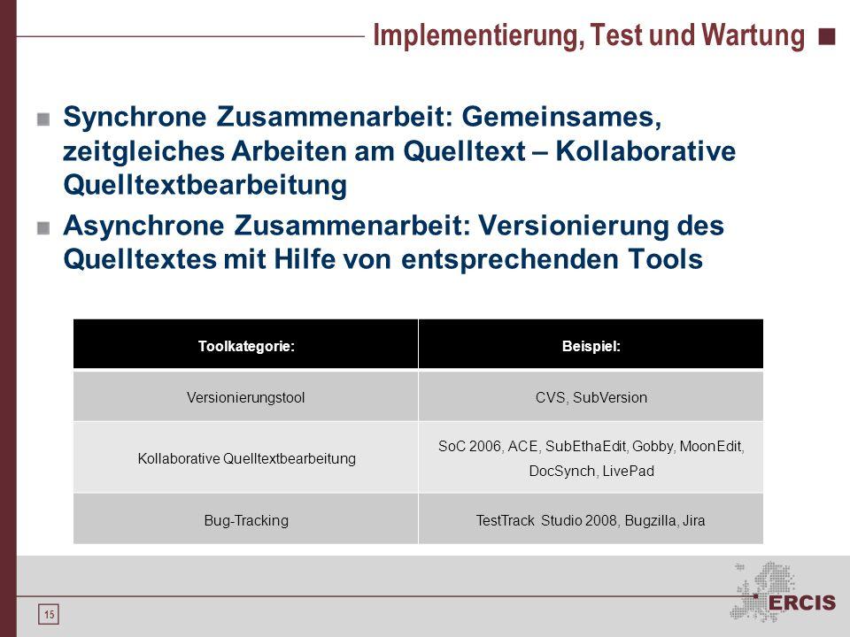 Implementierung, Test und Wartung