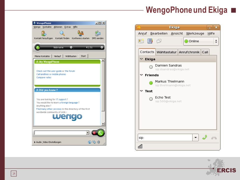 WengoPhone und Ekiga