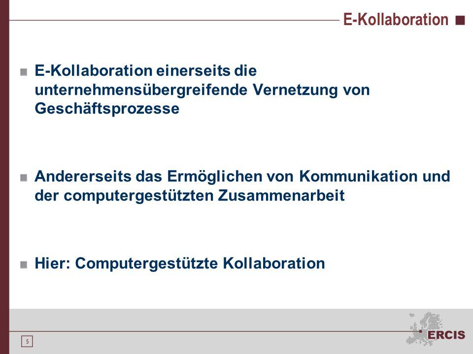 E-Kollaboration E-Kollaboration einerseits die unternehmensübergreifende Vernetzung von Geschäftsprozesse.