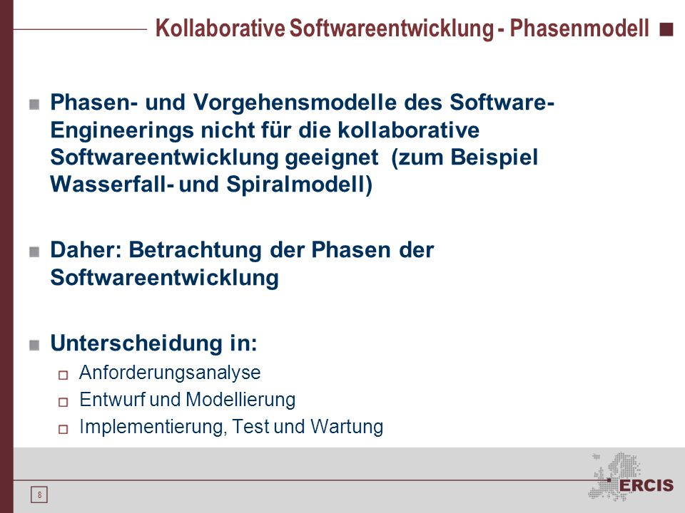 Kollaborative Softwareentwicklung - Phasenmodell