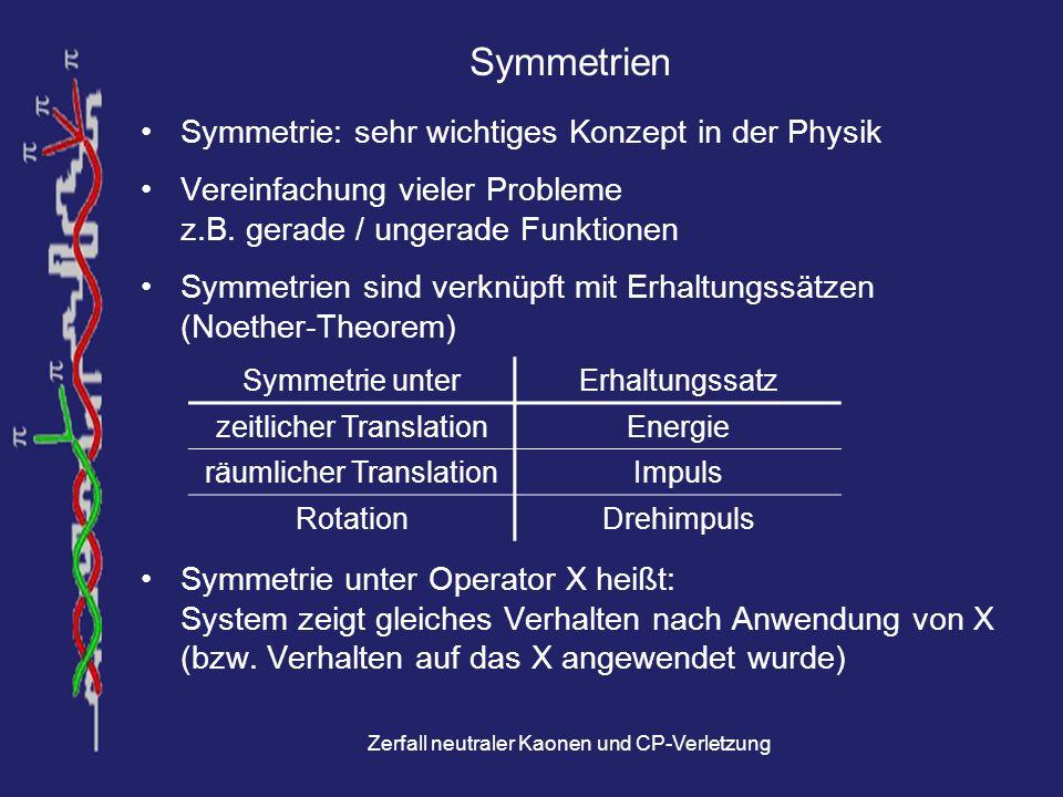 Symmetrien Symmetrie: sehr wichtiges Konzept in der Physik