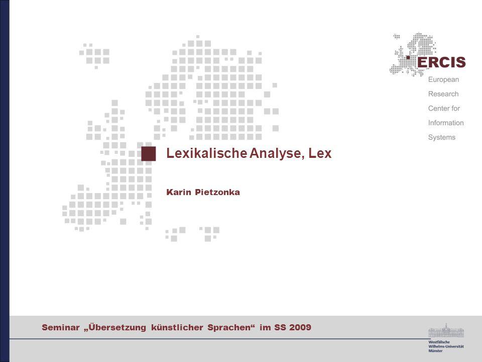 Lexikalische Analyse, Lex