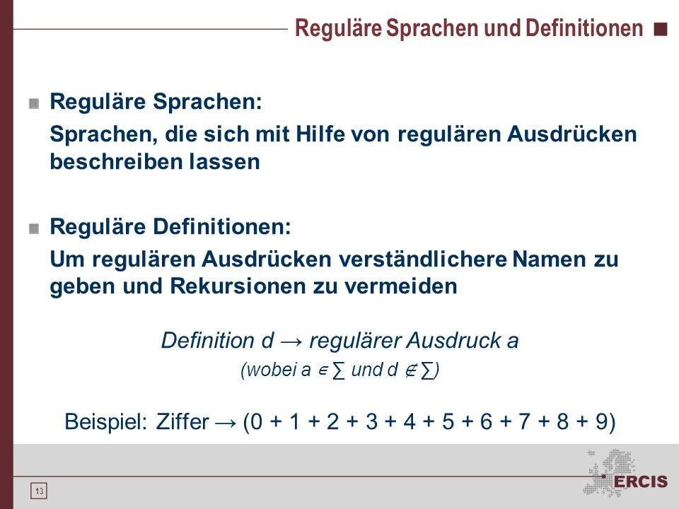 Reguläre Sprachen und Definitionen