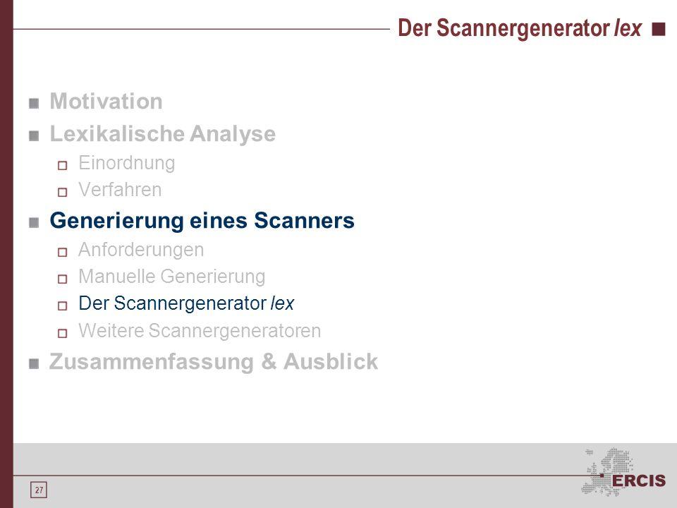Der Scannergenerator lex