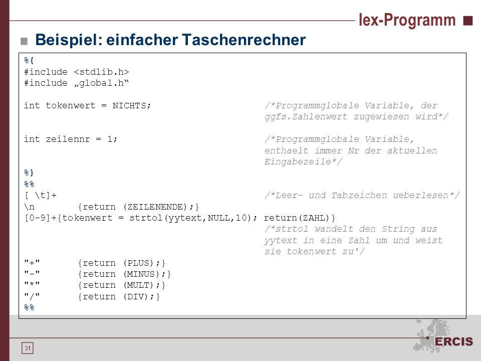 lex-Programm Beispiel: einfacher Taschenrechner %{