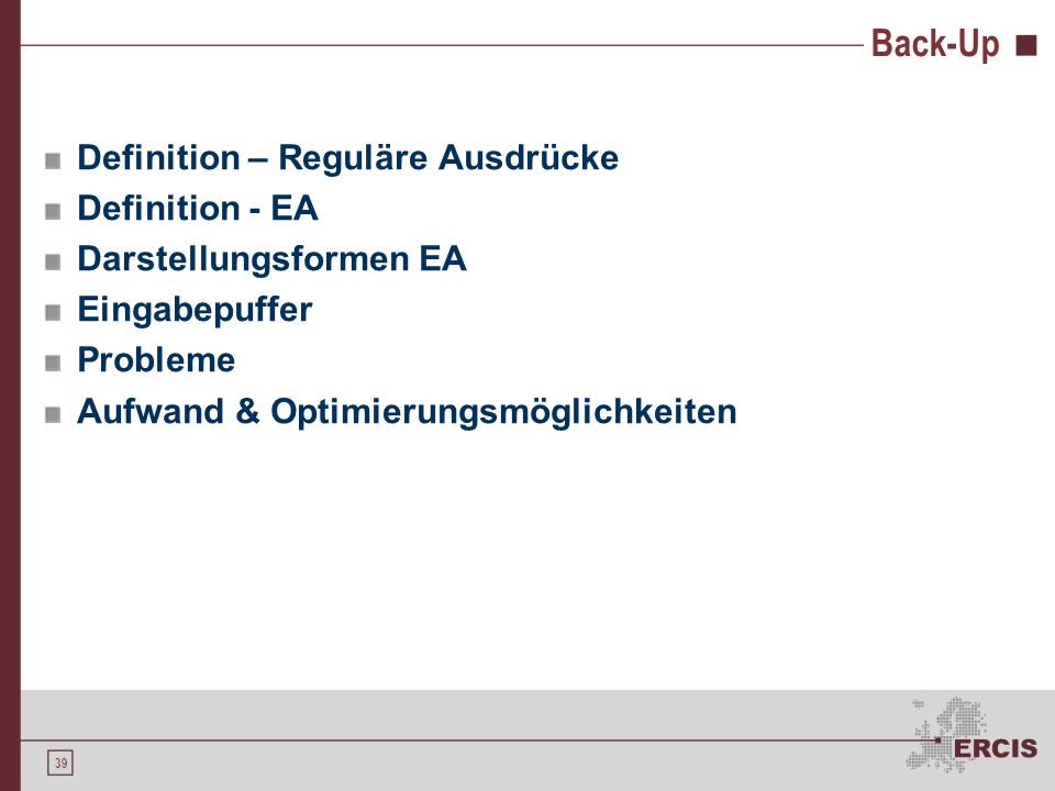 Back-Up Definition – Reguläre Ausdrücke Definition - EA
