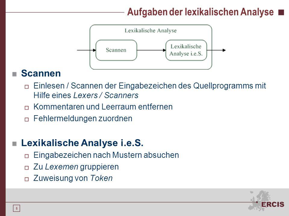Aufgaben der lexikalischen Analyse