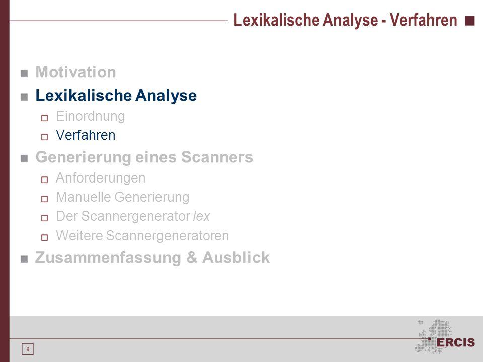 Lexikalische Analyse - Verfahren