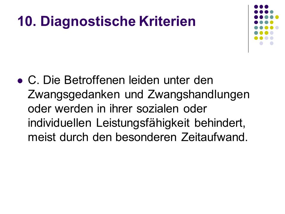 10. Diagnostische Kriterien