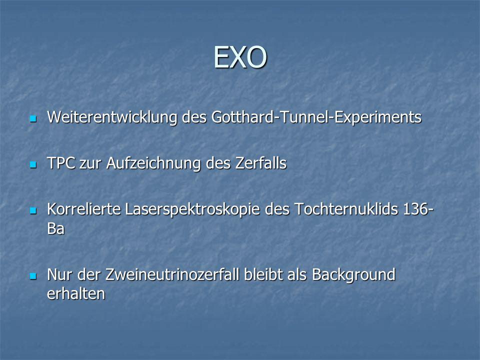EXO Weiterentwicklung des Gotthard-Tunnel-Experiments