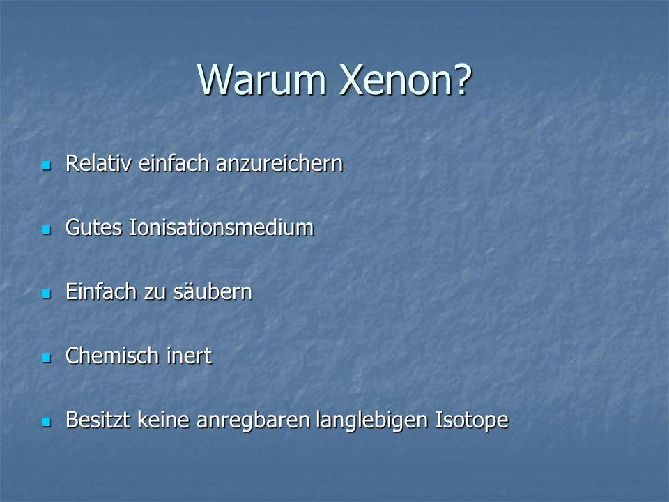 Warum Xenon Relativ einfach anzureichern Gutes Ionisationsmedium
