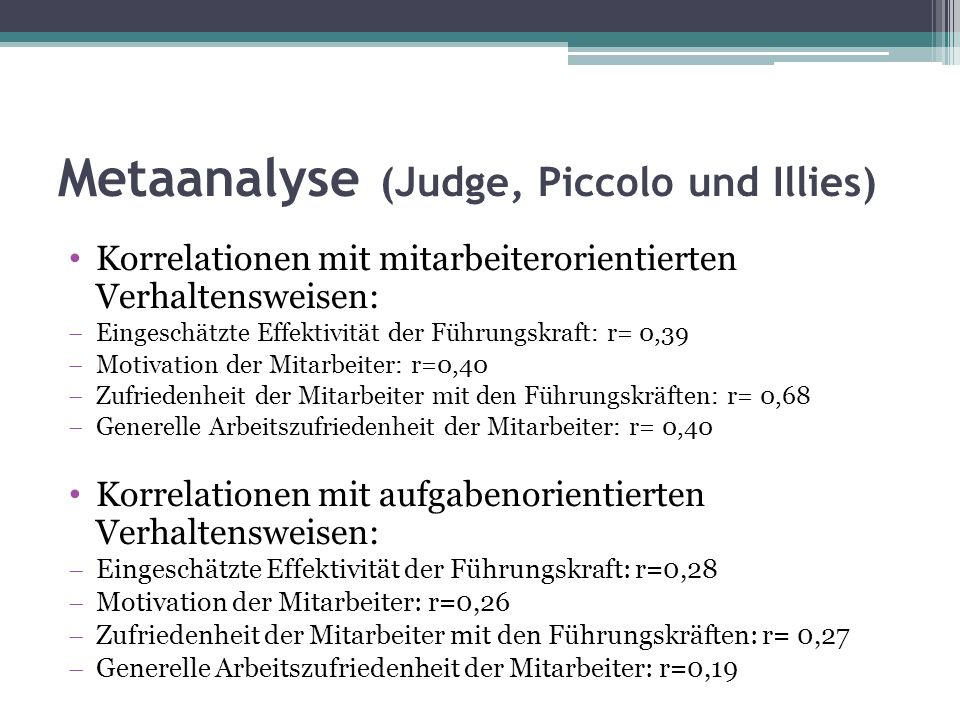 Metaanalyse (Judge, Piccolo und Illies)