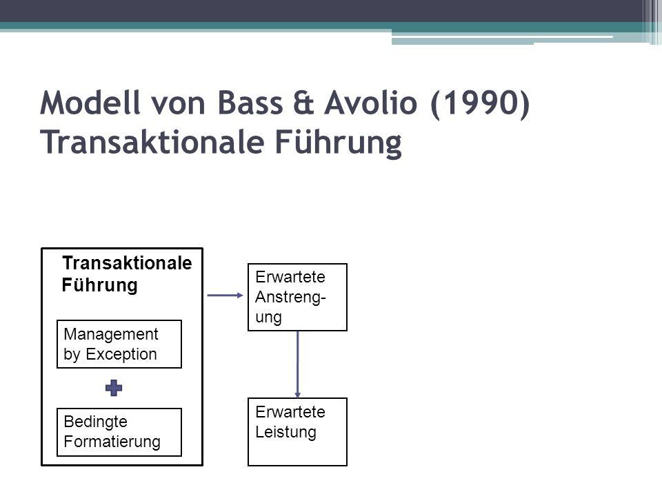 Modell von Bass & Avolio (1990) Transaktionale Führung