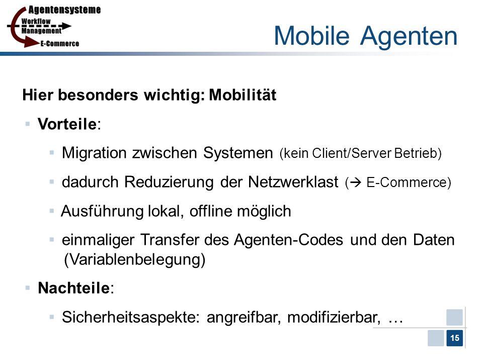 Mobile Agenten Hier besonders wichtig: Mobilität Vorteile: