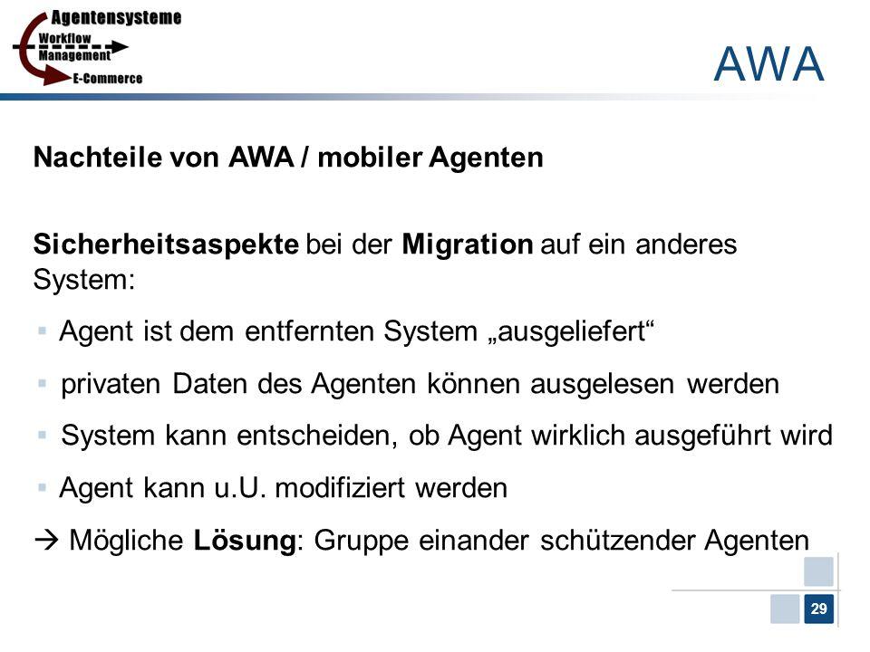 AWA Nachteile von AWA / mobiler Agenten