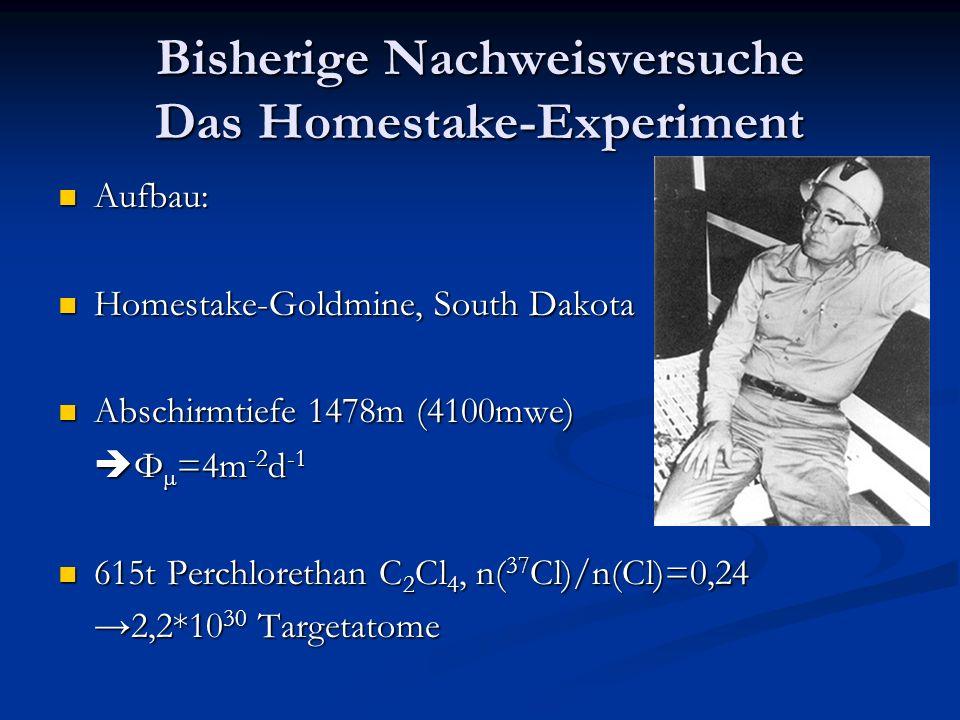 Bisherige Nachweisversuche Das Homestake-Experiment