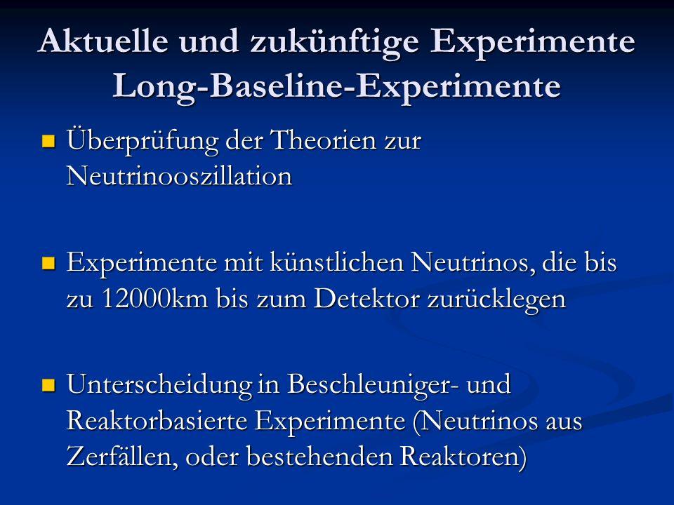 Aktuelle und zukünftige Experimente Long-Baseline-Experimente