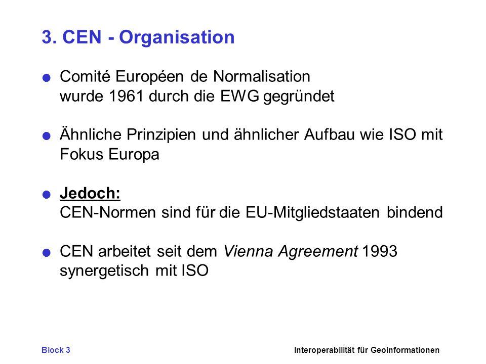 3. CEN - Organisation Comité Européen de Normalisation wurde 1961 durch die EWG gegründet.