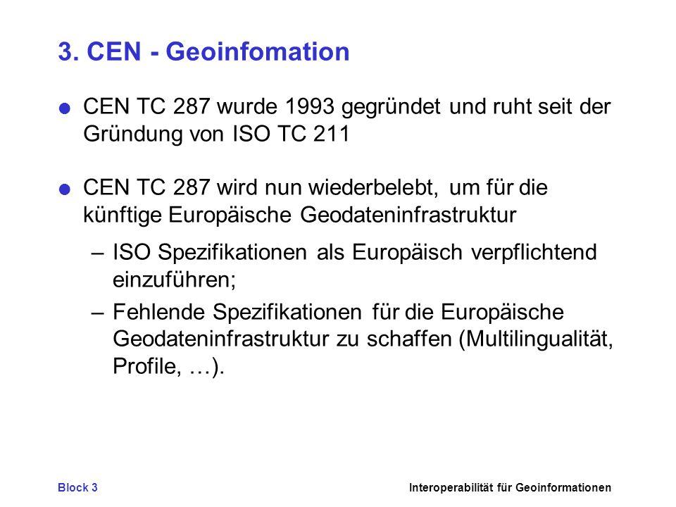 3. CEN - Geoinfomation CEN TC 287 wurde 1993 gegründet und ruht seit der Gründung von ISO TC 211.