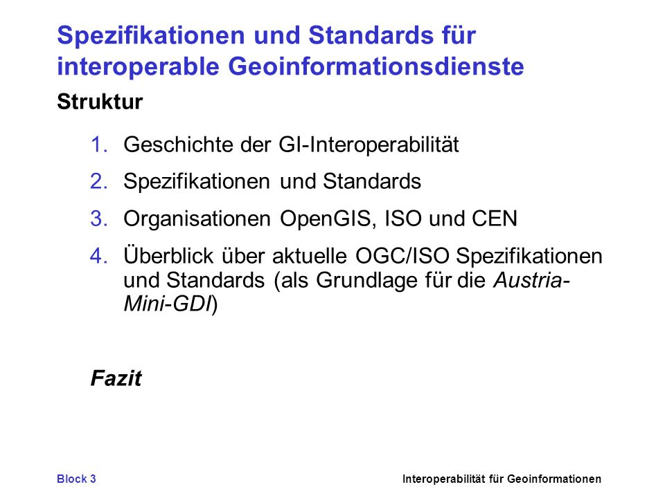 Spezifikationen und Standards für interoperable Geoinformationsdienste
